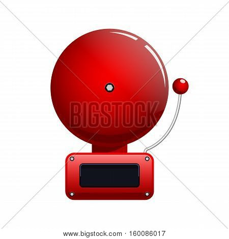 Red fire alarm bell vector icon isolated on white