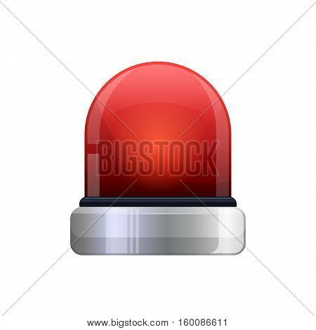 Realistic red flashing emergency light vector icon
