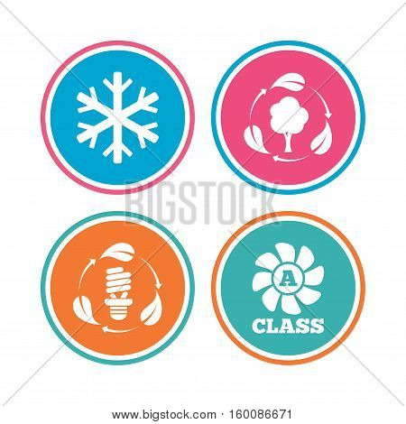 Fresh air icon. Forest tree with leaves sign. Fluorescent energy lamp bulb symbol. A-class ventilation. Air conditioning symbol. Colored circle buttons. Vector