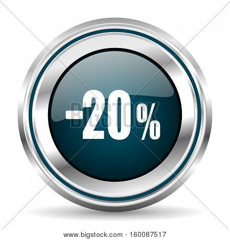 20 percent sale vector icon. Chrome border round web button. Silver metallic pushbutton.