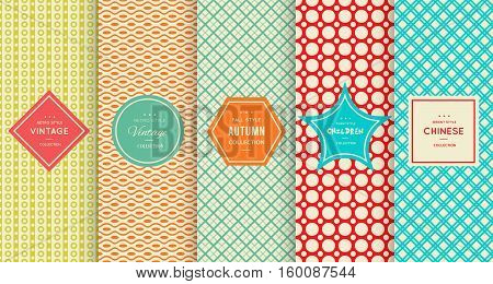 Retro vintage seamless pattern background. Vector illustration for design. Abstract geometric frame. Stylish decorative label set Art decoration texture wallpaper package Elegant fashion simple border