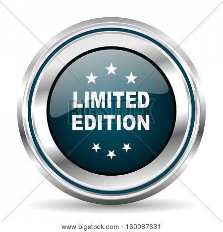 Limited edition vector icon. Chrome border round web button. Silver metallic pushbutton.
