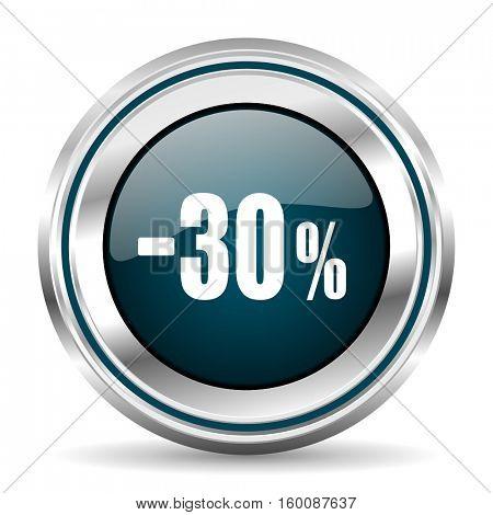 30 percent sale vector icon. Chrome border round web button. Silver metallic pushbutton.