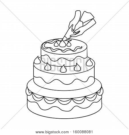 Decorating of birthday cake icon in outline style isolated on white background. Event service symbol vector illustration.