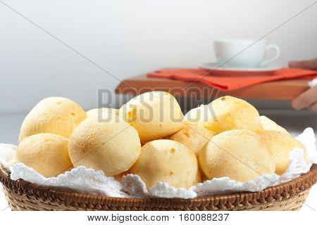 Brazilian Cheese Bread. Pao de Queijo with coffee