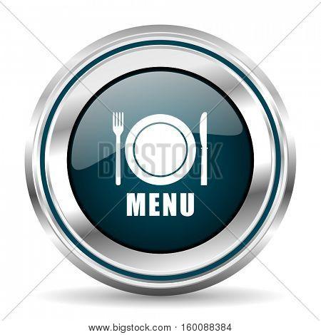 Restaurant menu vector icon. Chrome border round web button. Silver metallic pushbutton.