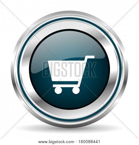 Shopping cart vector icon. Chrome border round web button. Silver metallic pushbutton.