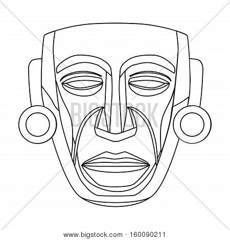 Mayan mask icon in outline style isolated on white background. Mexico country symbol vector illustration.