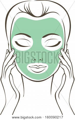 Female face with beauty mask outline drawing