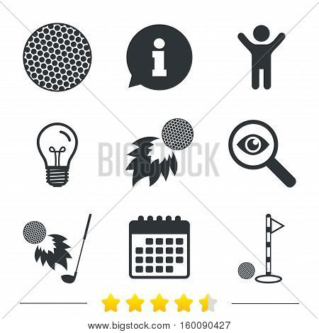 Golf ball icons. Fireball with club sign. Luxury sport symbol. Information, light bulb and calendar icons. Investigate magnifier. Vector