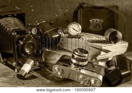 Vintage still-life with old retro photo cameras