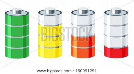 Vector 3d battery set. Charged and discharged power sources. Stock illustration. Isolated on white