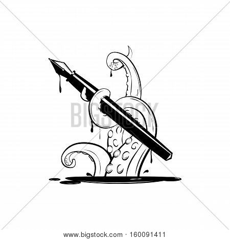 Giant  kraken with ink pen, silhouette octopus for logo and t-shirt print or seafood mascot label, simple, commercial, black vector illustration
