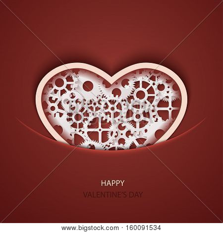 Vector modern valentines day background. Concept heart icon and gears