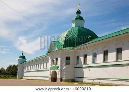 Main entrance to the Transfiguration complex Holy Trinity Alexander Svirsky Monastery in Karelia, north of Russia.