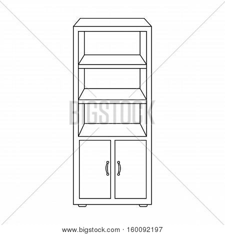 Office bookcase icon in outline style isolated on white background. Office furniture and interior symbol vector illustration.