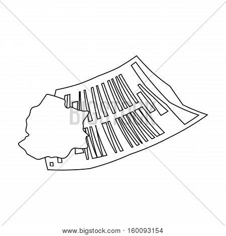 Crumpled paper icon in outline style isolated on white background. Trash and garbage symbol vector illustration.
