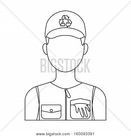 Waste collector icon in outline style isolated on white background. Trash and garbage symbol vector illustration.