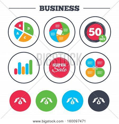 Business pie chart. Growth graph. Hands insurance icons. Money bag savings insurance symbols. Hands protect cash. Currency in dollars, yen, pounds and euro signs. Super sale and discount buttons