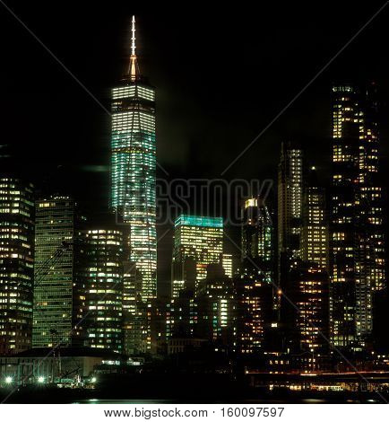 New York City, USA - December 03, 2015: Lower Manhattan with Freedom Tower at night.