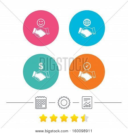 Handshake icons. World, Smile happy face and house building symbol. Dollar cash money. Amicable agreement. Calendar, cogwheel and report linear icons. Star vote ranking. Vector
