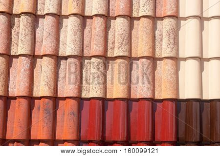 New red natural color roof tile pattern