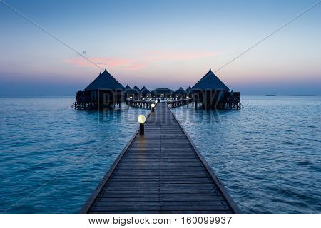 Overwater Bungalow. Ocean in the Maldives. Vacation in luxury hotel