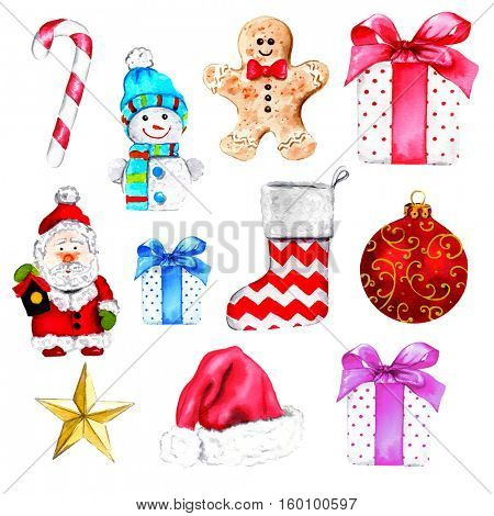 Watercolor illustration of hand painted christmas collection