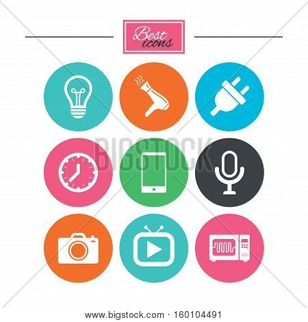 Home appliances, device icons. Electronics signs. Lamp, electrical plug and photo camera symbols. Colorful flat buttons with icons. Vector