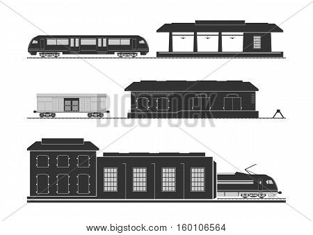Rail infrastructure: railway station goods shed and locomotive depot. Vector illustration.