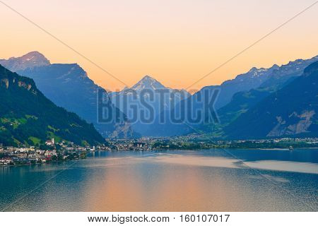 Setting sun painted the mountains in the snow. Canton of Uri, Switzerland.