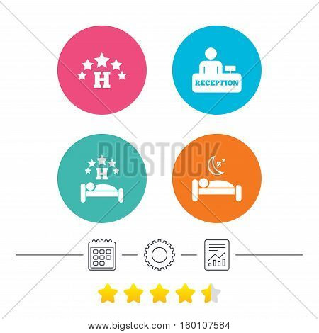 Five stars hotel icons. Travel rest place symbols. Human sleep in bed sign. Hotel check-in registration or reception. Calendar, cogwheel and report linear icons. Star vote ranking. Vector