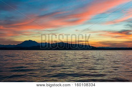 Spectacular sunset over Lake Zug in the Swiss Alps.
