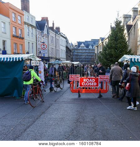 Broad Street Oxford United Kingdom December 04 2016: Arts and Crafts Market with open stalls on Broad Street temporary closed for traffic Oxford.