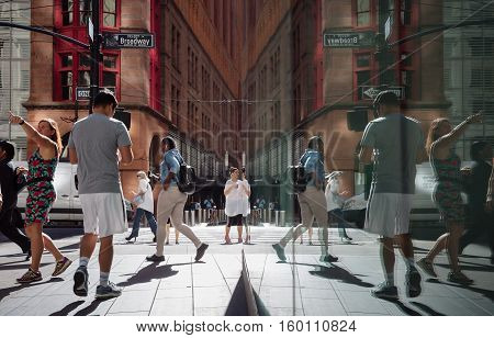 Manhattan Reflections Street Scene