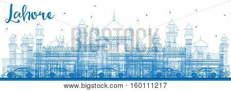 Outline Lahore Skyline with Blue Landmarks. Business Travel and Tourism Concept with Historic Architecture. Image for Presentation Banner Placard and Web.