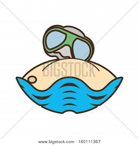 sand glasses beach oyster graphic vector illustration eps 10