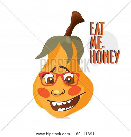 Happy pear illustration. Smiling Pear Face with glasses on. Speech bubble with text