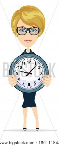 businesswoman holding the clock, for use in presentations. Stock Vector illustration