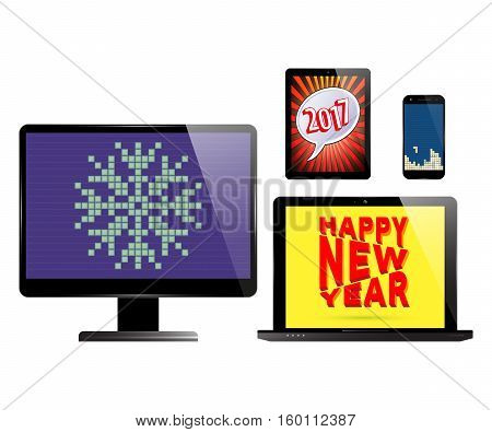 Smartphone monitor PC computer laptop and tablet with various holidays screen savers. Electronic devices isolated on white background. Vector illustration.