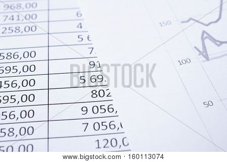 Lying on the table of the financial statements table closeup