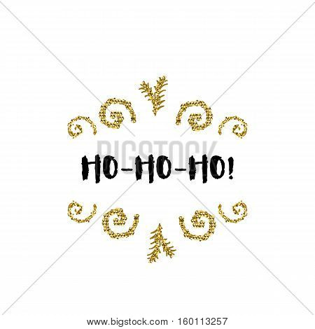 Christmas greeting card on white background with golden elements and text Ho-Ho-Ho