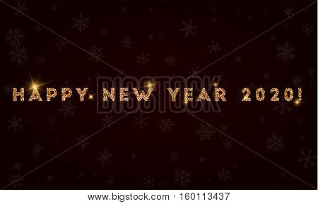 Happy New Year 2020!. Golden Glitter Greeting Card. Luxurious Design Element, Vector Illustration.