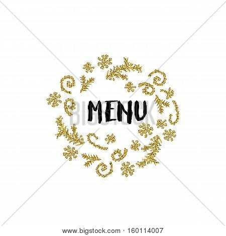 Christmas greeting card on white background with golden elements and text MENU