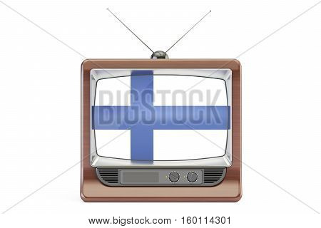 old tv with flag of Finland. Finnish Television concept 3D rendering