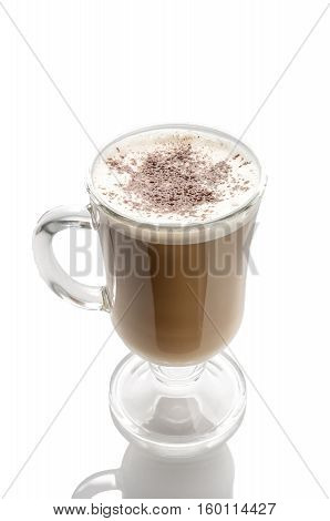 Capuccino In Glass Cup Isolated On White. Path Included