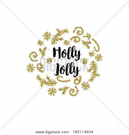 Christmas greeting card on white background with golden elements and text Holly Jolly