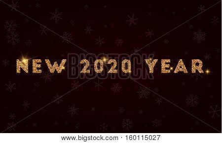 New 2020 Year. Golden Glitter Greeting Card. Luxurious Design Element, Vector Illustration.