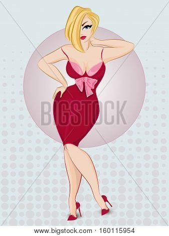 Beautiful Pin-up Sexy Woman Wearing Red Dress. Pop Art Blonde Girl Vector With Dots Background