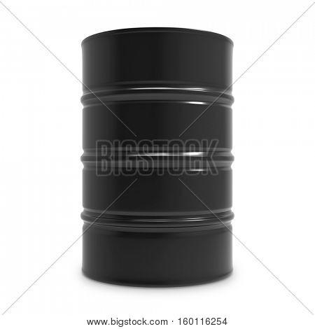 Standard black oil barrel isolated on white background. 3D rendering.